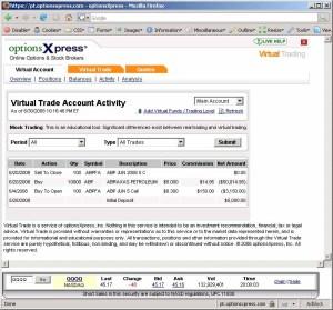 Virtual Trade Account Activity, As of 6/30/2008